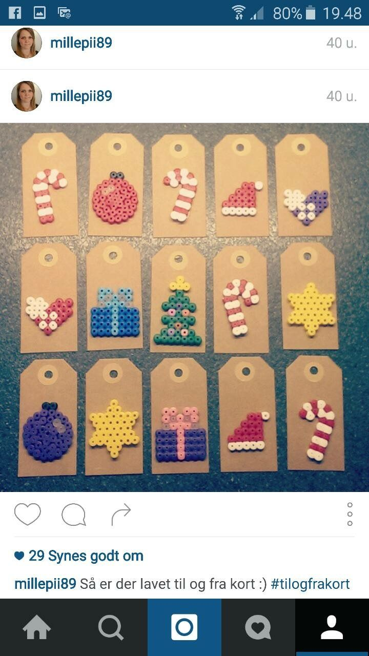 Perler beads as gift tags and cards. Genius! My kids would love ...