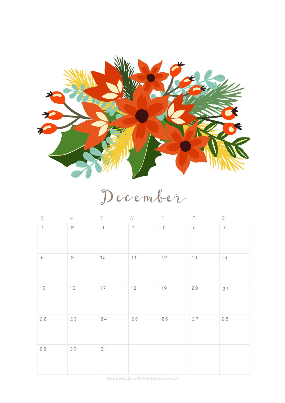 December 2019 Calendar Modern Printable December 2019 Calendar Monthly Planner {2 Designs
