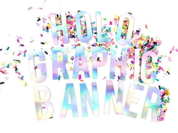 Holographic Party Banner - iridescent decor - unicorn and mermaid theme - personalised banner for birthdays, bachelorette and hen parties