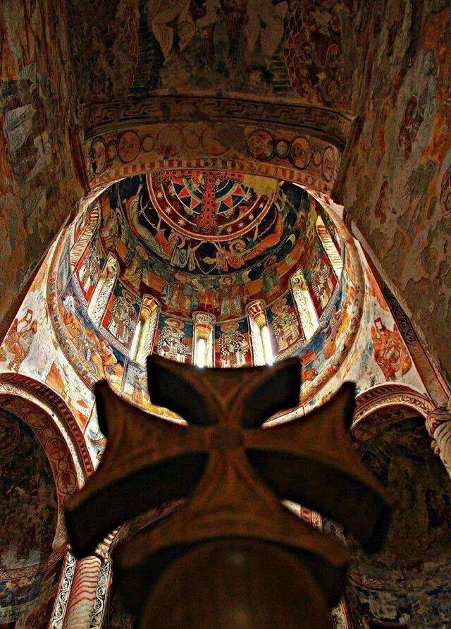 Nikortsminda monastery's painting, Racha, Georgia.