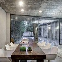 Tea House by Archi Union Architects. Dining room. Long Table. Concrete. Floor to Ceiling Window. Minimal. Modern. Design. Decor. Home.