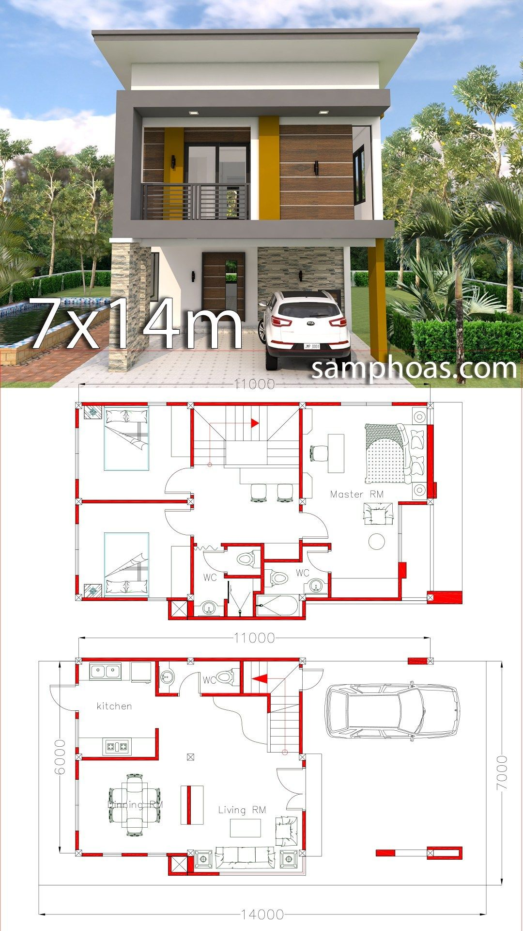 Small Home Design Plan 6x11m With 3 Bedrooms Samphoas Plansearch Tiny Modern House Plans Small House Design Plans Small House Design