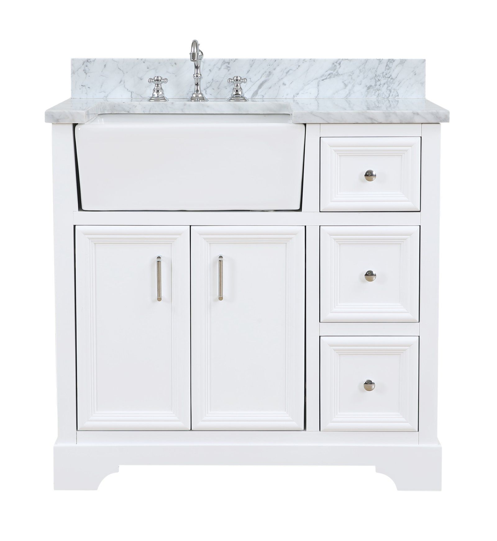 Zelda 36inch Farmhouse Vanity with Carrara Marble Top in
