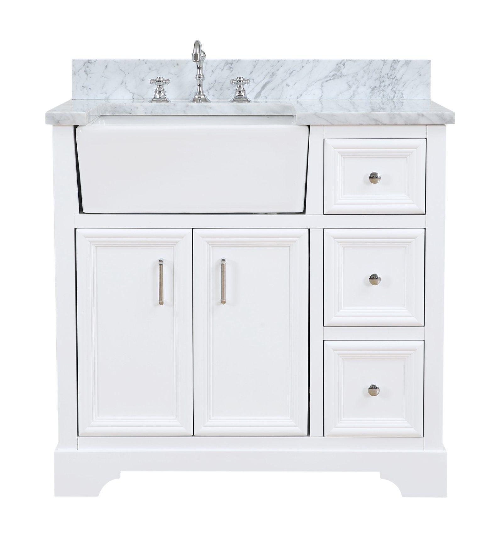 Zelda 36inch Farmhouse Vanity with Carrara Marble Top in