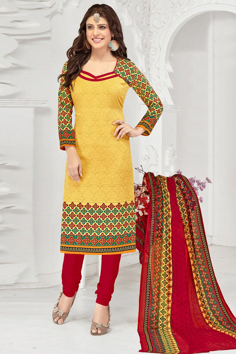 40a8e40121 Yellow And #Red #Cotton #Straight Cut #Suit #nikvik #usa #designer  #australia #canada #freeshipping #suits