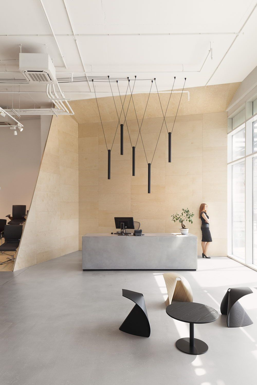 Reception Area In The Showroom Of Workspace Bulgaria Pendant Lights By Wolfram Studio Modern Office Decor Office