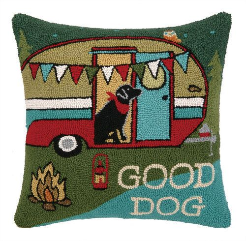 Peking-Handicraft-Pillow-Going-Places-Happy-Camper-Hooked-Pillow-18x18-Multi-Clr