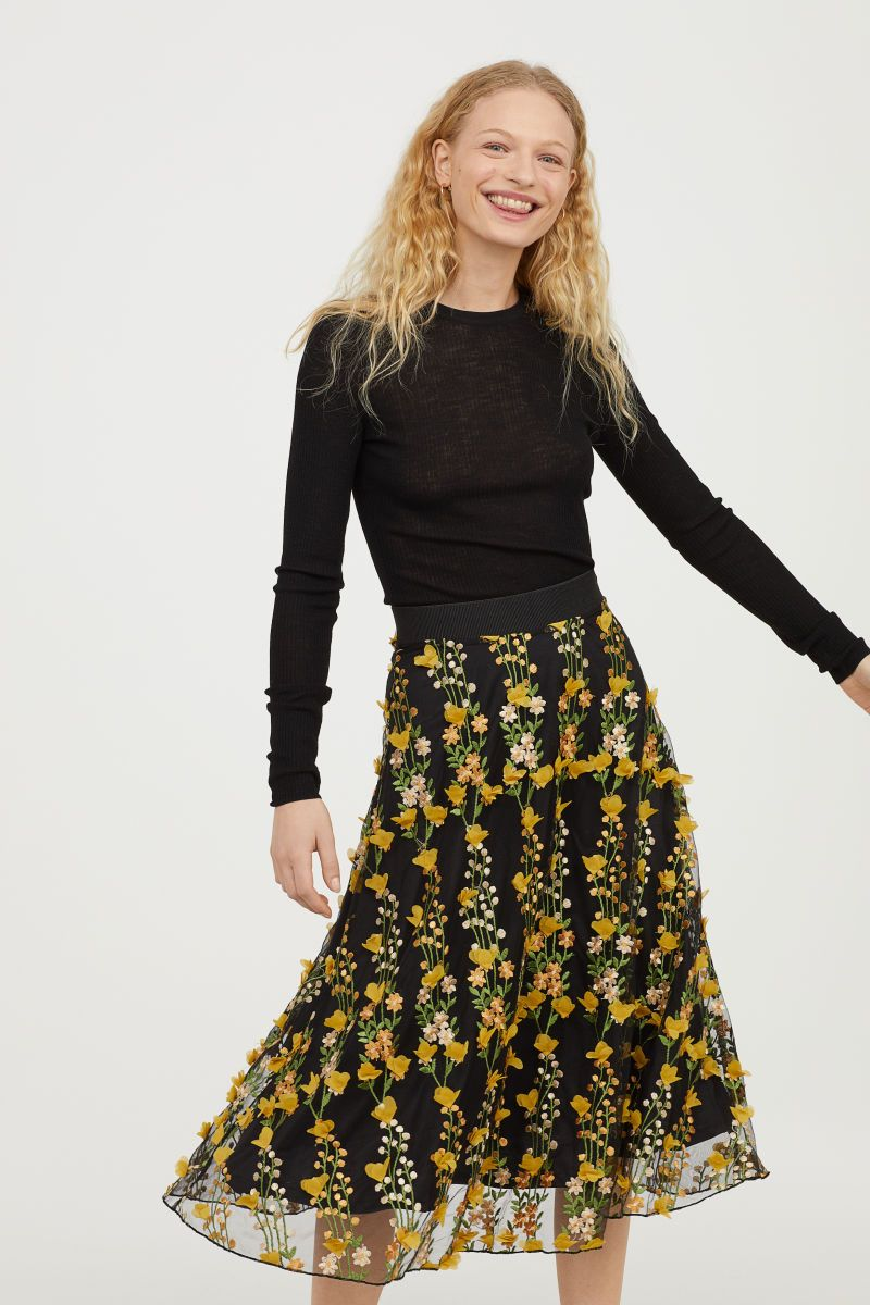 Embroidered Tulle Skirt | Black | WOMEN | H&M US | Style