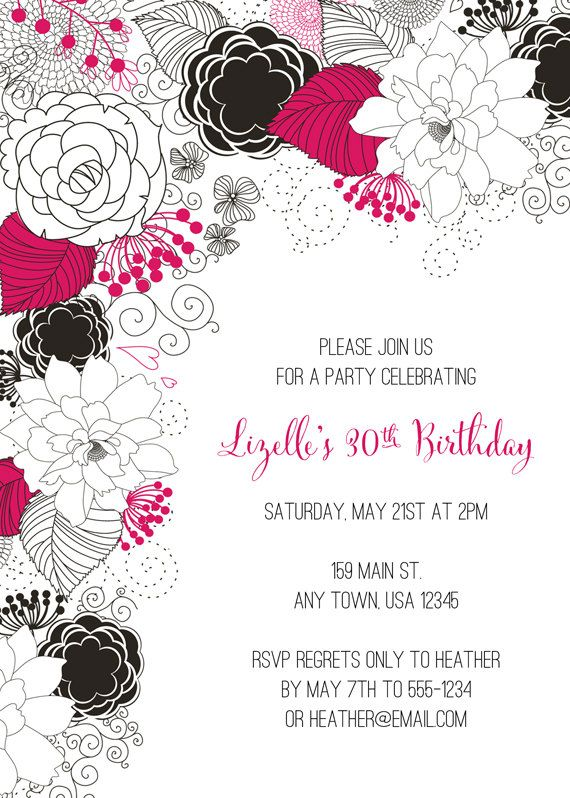 Cumpleaños Para Imprimir De Flores Invitan A Por