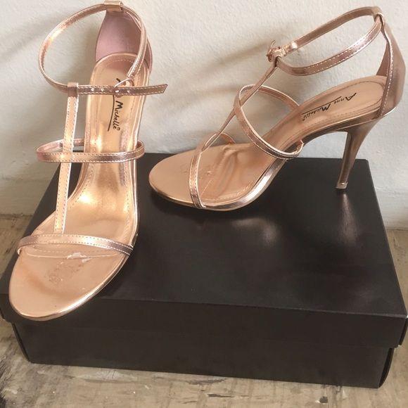 Strappy rose golden heels Rose golden single sole heels Anne Michelle Shoes Heels