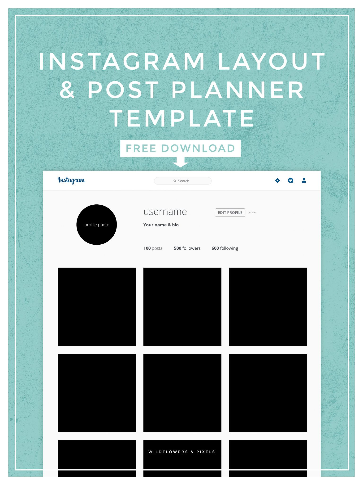 instagram layout post planner template free psd download social media marketing. Black Bedroom Furniture Sets. Home Design Ideas