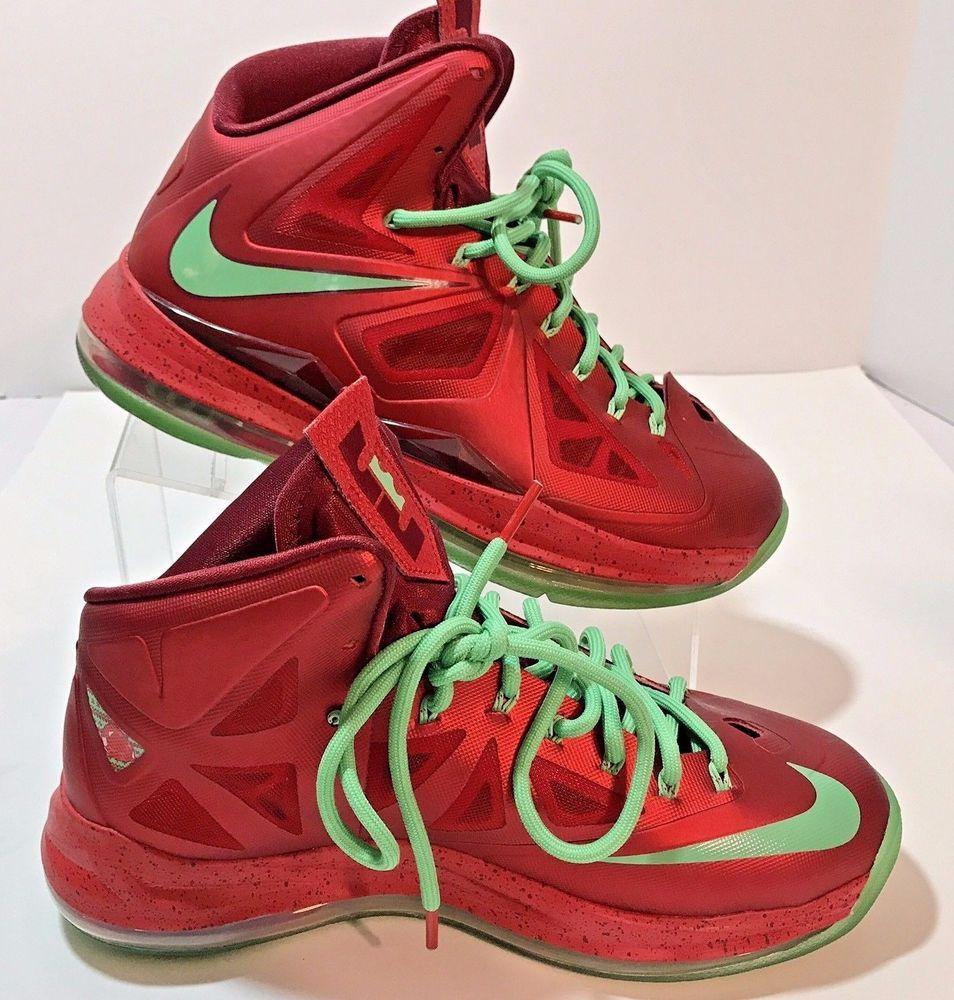 Nike Lebron X James Air Max Red Green Christmas Men Sz 8 Shoe EU 41 ...