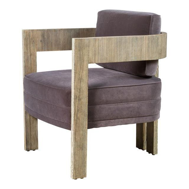 """Curved+Arm+Chair+-+Curved+Arm+Chair+shown+in+distressed+Douglas+Fir.  Wood:+Distressed+Douglas+Fir+or+specify+other+finish Upholstery:+COM+only+3+yards+(example+shown+velvet+suede) COM:+3+yards Size:++32.0ʺh+x+27""""d+x+27""""w Seat:+17""""D+to+back+cushion,+25.75""""d+in+full;+17.5""""h,+24""""w"""