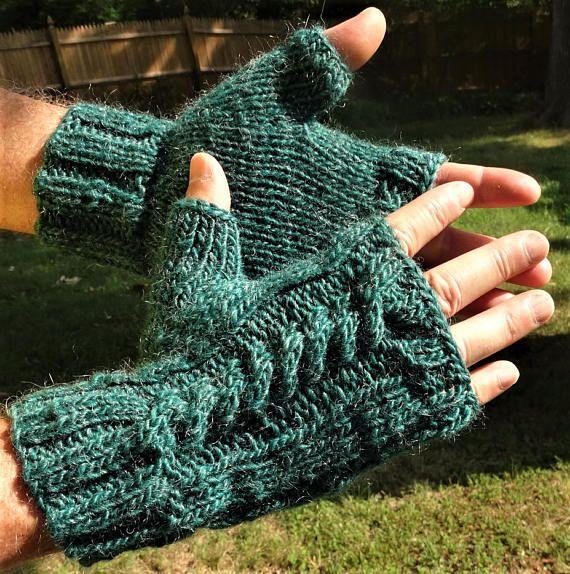Fingerless Gloves Mens Hand Knit Cabled Green Merino Wool Mohair