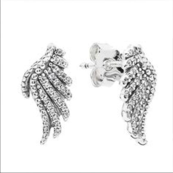 Pandora Wing Earrings Nip Sterling Silver Rhinestones New In Package Jewelry