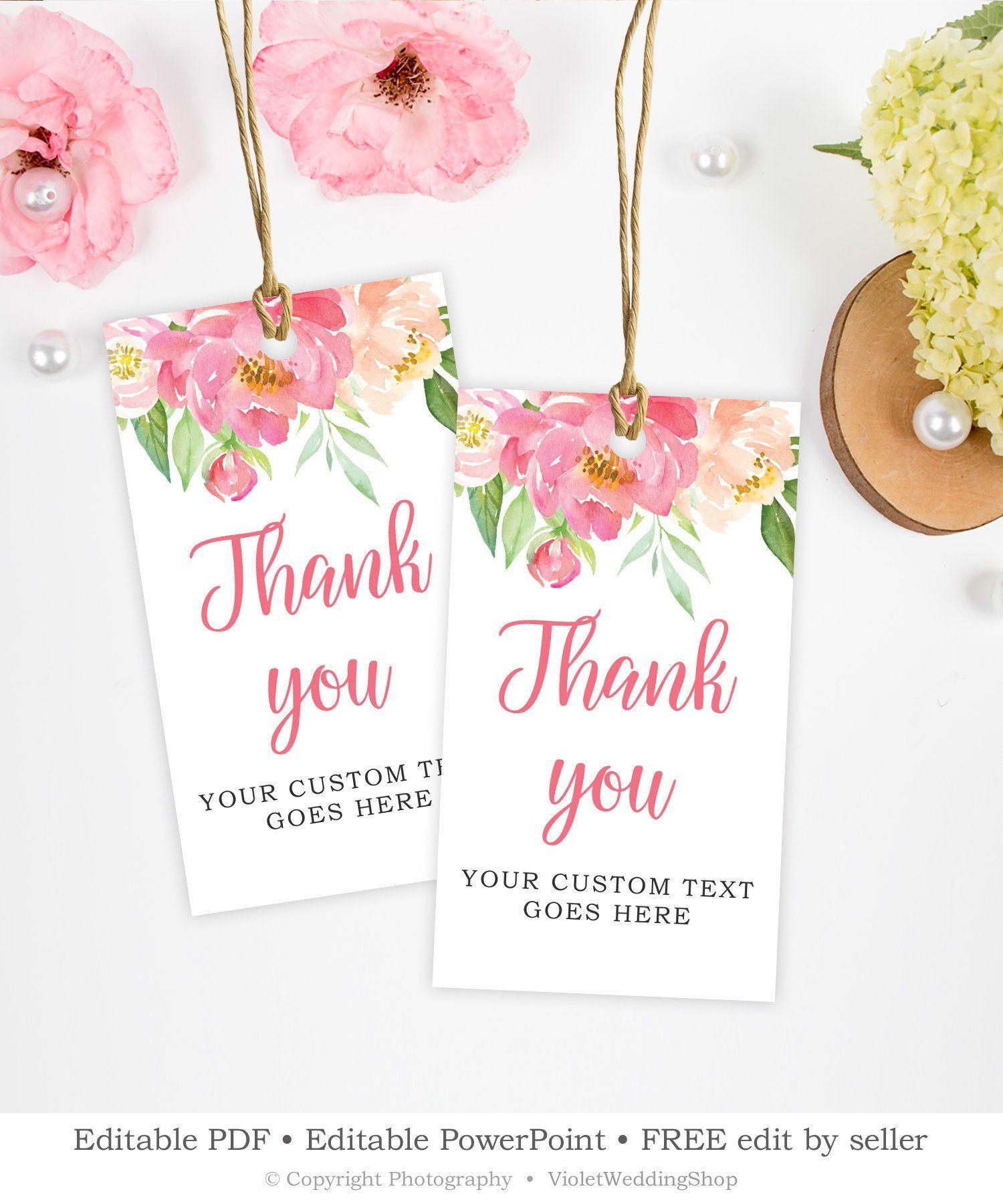 Blush Pink Favor Thank You Tag Template Editable Bridal