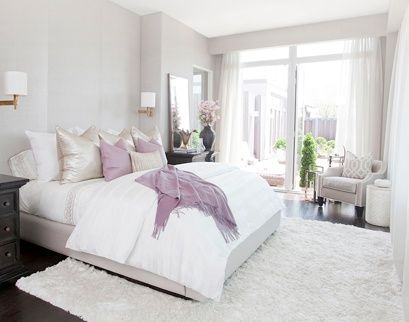 Neutral Colors With A Dash Of Gold And Purple Master Bedroom Home Bedroom Design Pastel Bedroom