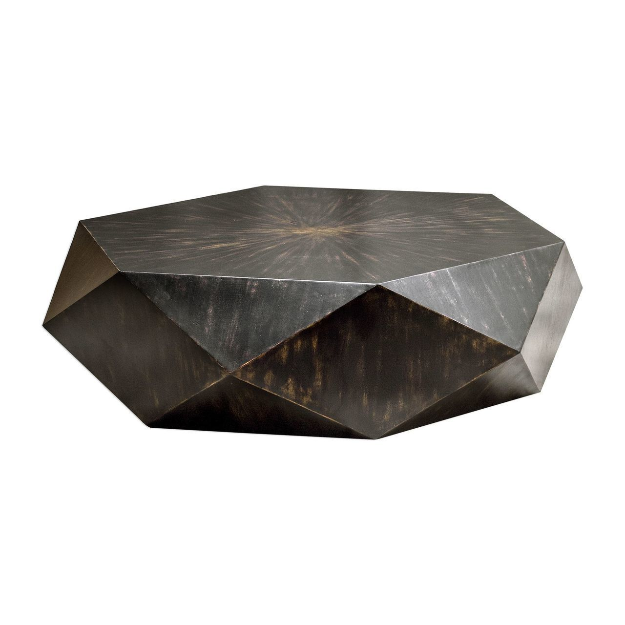 Faceted Large Round Wood Coffee Table Modern Geometric Block Solid My Swanky Home Round Wood Coffee Table Geometric Coffee Table Black Coffee Tables [ 1280 x 1280 Pixel ]