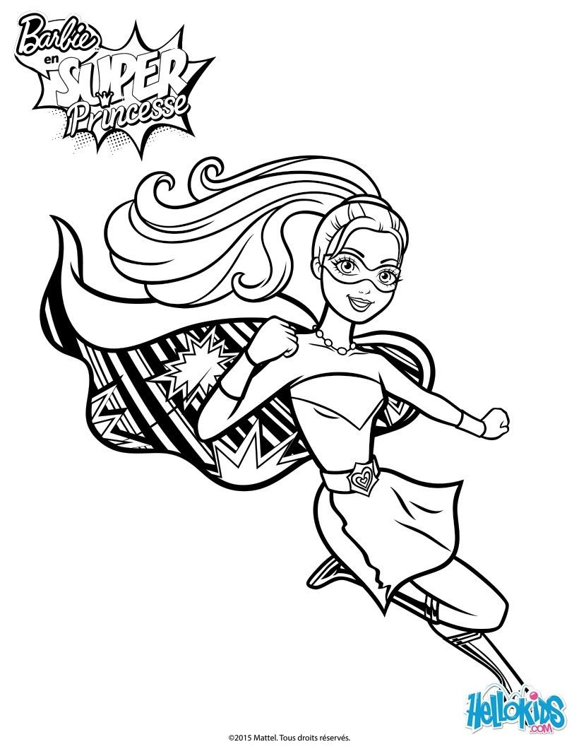 Barbie Super Power Saves The Day Coloring Page More Barbie Super Princess Content On Hellokids Barbie Coloring Pages Superhero Coloring Pages Barbie Coloring