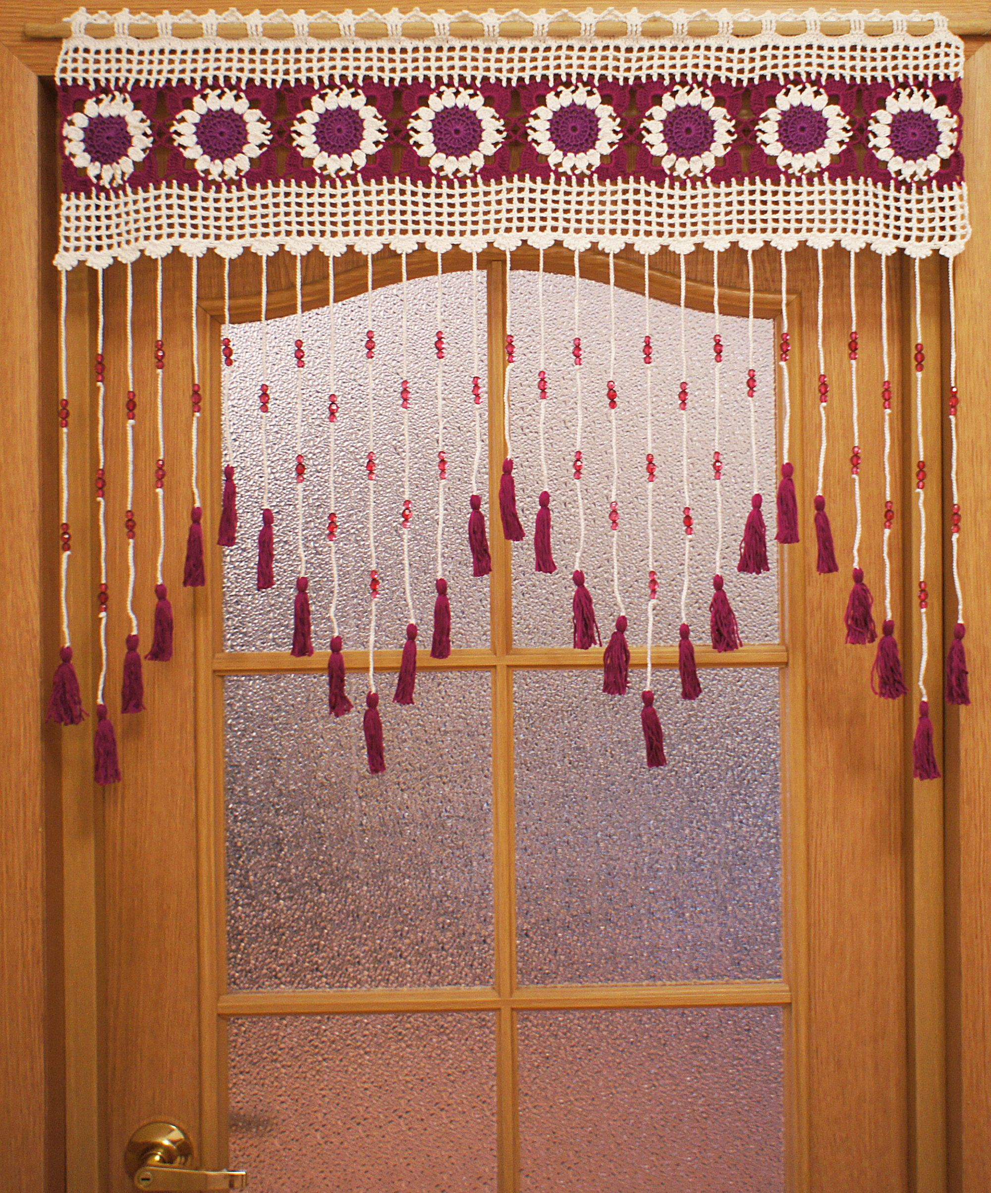Bead Curtains With Tassels Door Beads In White And Purple Etsy In 2020 Door Beads Tassel Curtains Crochet Curtains