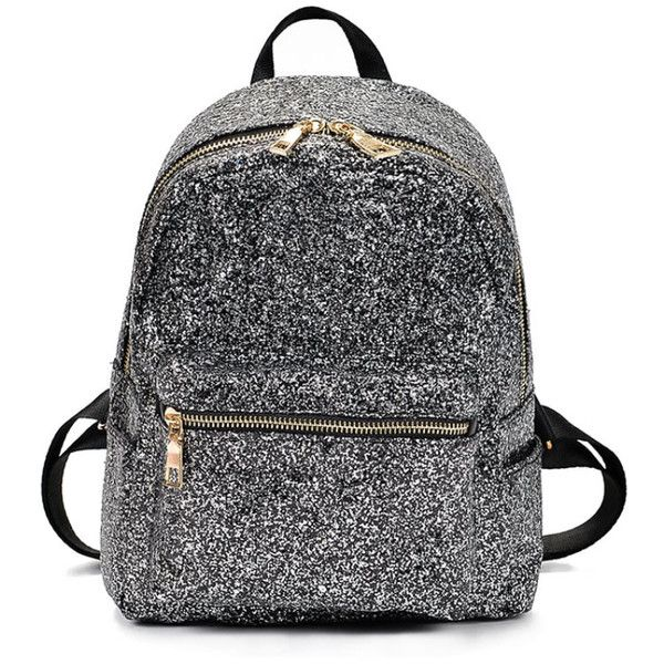 add4c8189c5 Zipper Front Glitter Design Backpack (320 INR) ❤ liked on Polyvore  featuring bags, backpacks, glitter backpack, rucksack bag, daypack bag,  glitter bag and ...