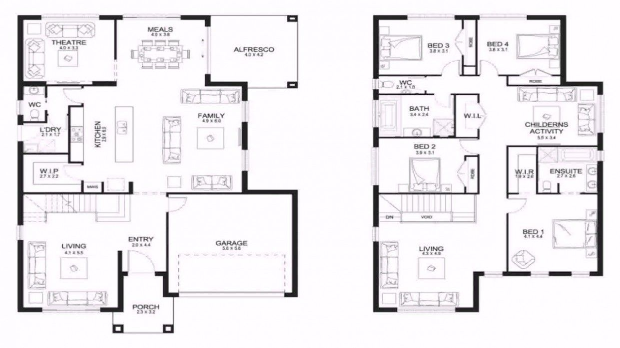 Upstairs 5 Bedroom Floor Plan Large Family House Plan Home Design Floor Plans Floor Plans