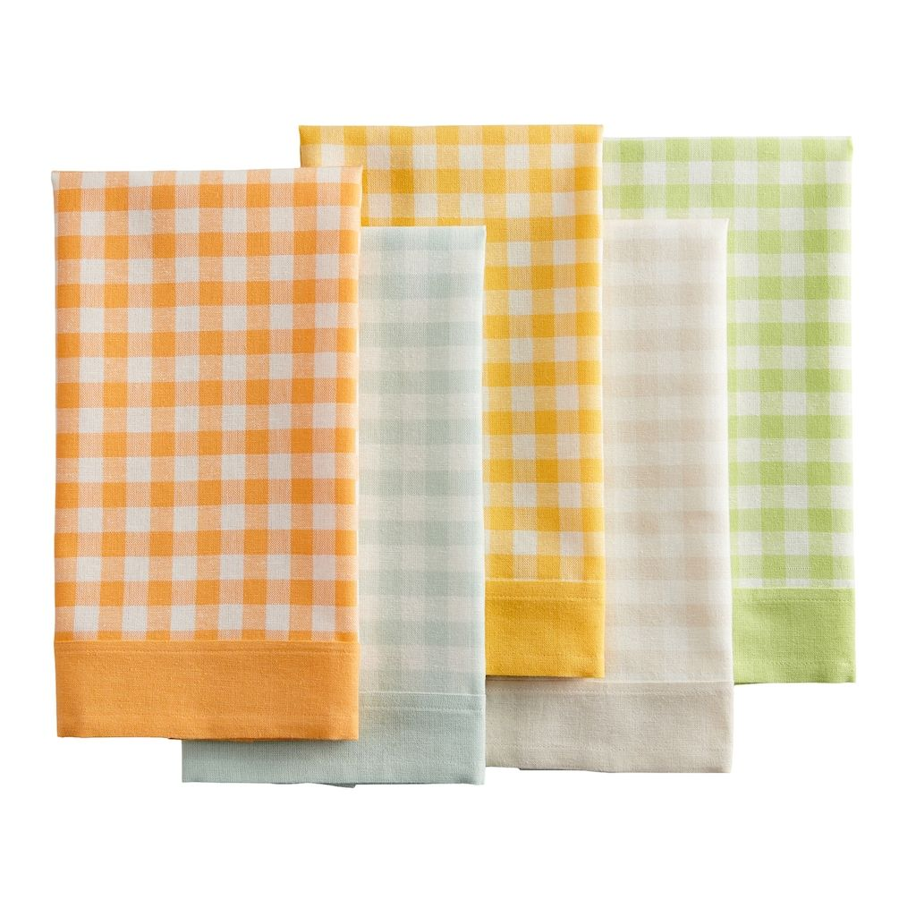 Celebrate Spring Together Woven Gingham Kitchen Towel 5 Pk White