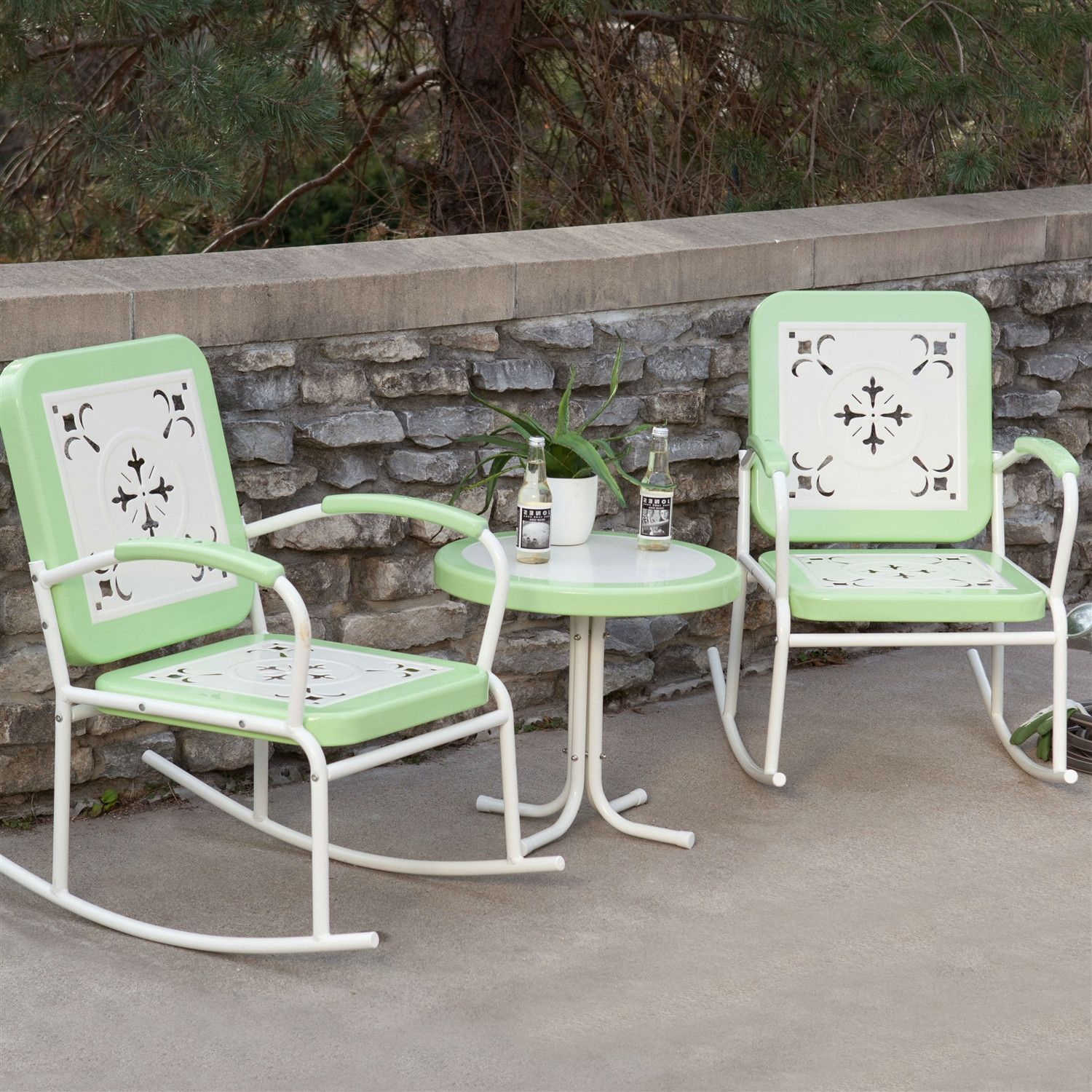 Mint Green Retro Patio 3 Piece Metal Rocker Rocking Chair
