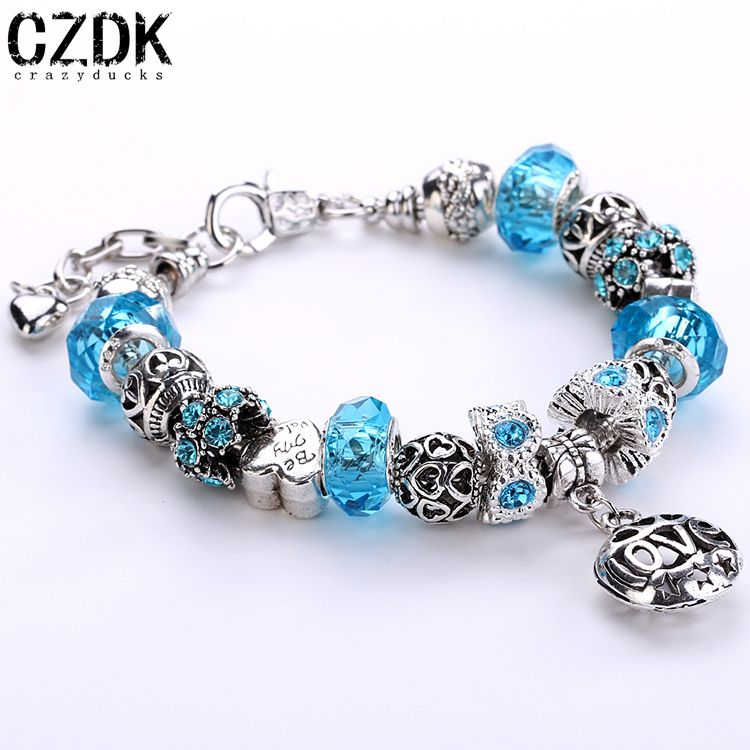 AA-04 Luxury 925 Sterling Silver Daisies Murano Glass&Crystal European Charm Beads Fits Pandora Style Bracelets Adjustable