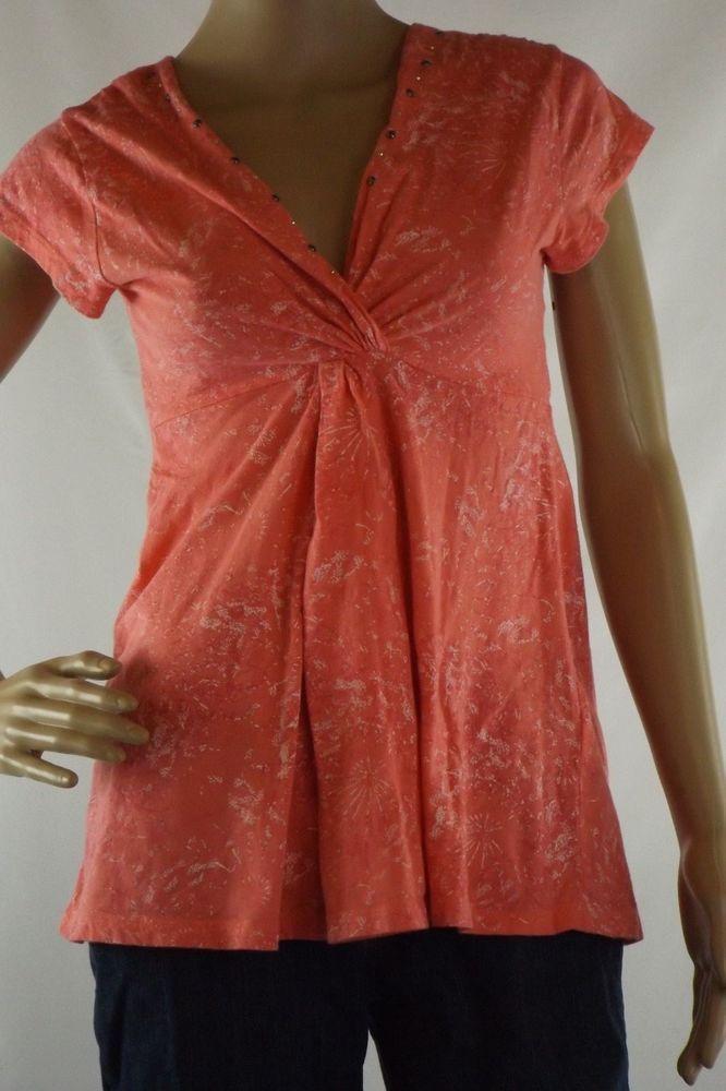 Junior's M  Cotton Wrangler Cap Sleeve V-Neck Top Empire Waist Peach, Pink White #Wrangler #KnitTop #Casual