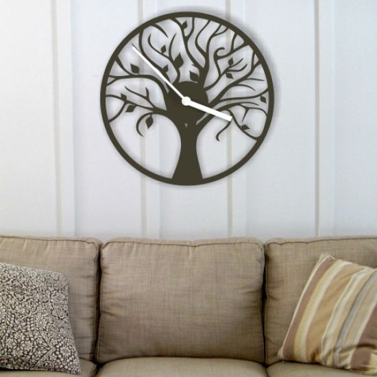Product Laser cut tree clock template  Vector design download free
