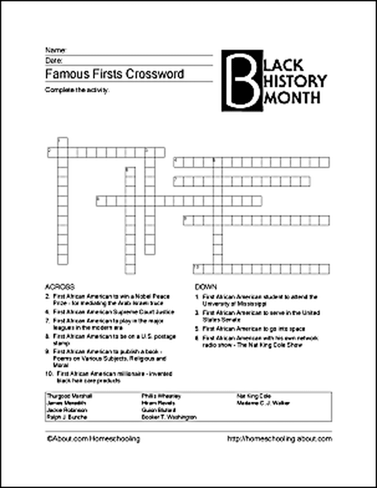 picture about Black History Month Printable Activities referred to as 6 Printable Things to do for Black Record Thirty day period BHM Black