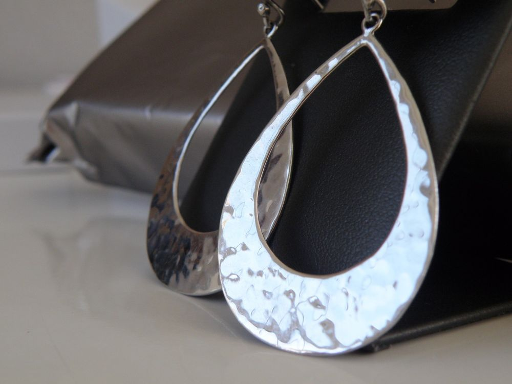 99bde590a Modern STERLING SILVER 925 Mexican Hammered BIG Open Ring Dangle Earrings  #ATI #DropDangle