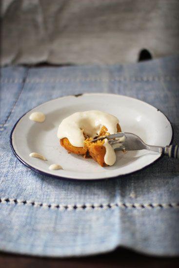 Pumpkin Doughnuts with Maple Cream Cheese Icing