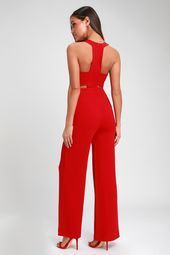Night Out Red WideLeg Cutout Jumpsuit Lulus  Night Out Roter Jumpsuit mit weitem Beinausschnitt  Größe Medium  100 Polyester This image has get 1 repins Author...