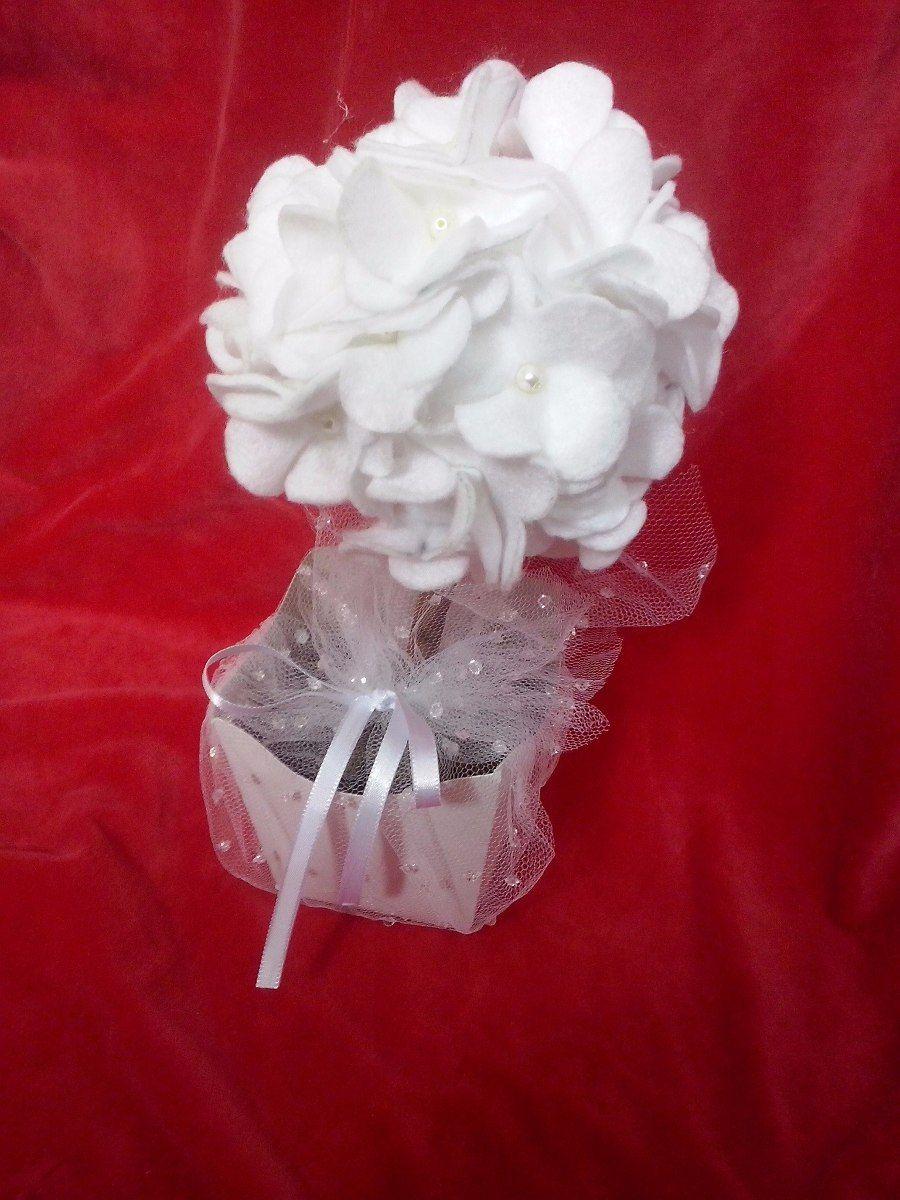 topiaria de flor de feltro pequena