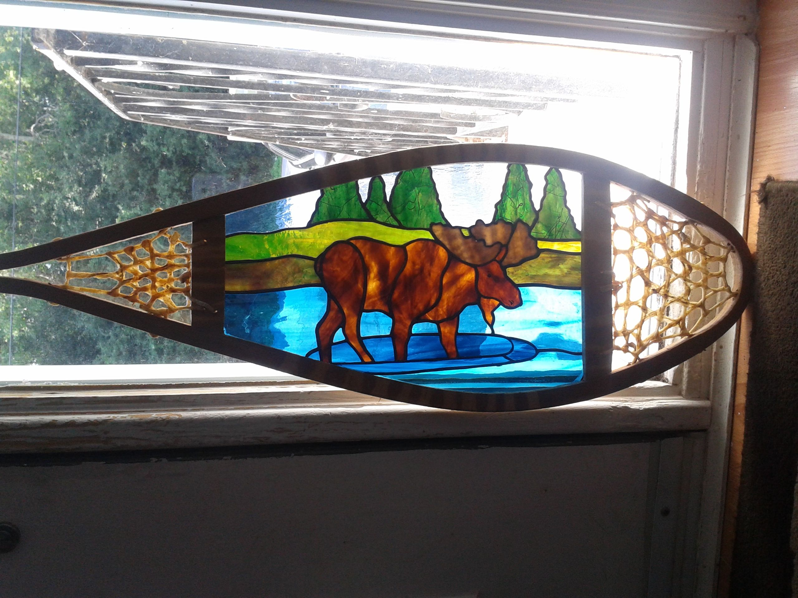 Beach theme decoration stained glass window panels arts crafts - Stained Glass Moose Snowshoe