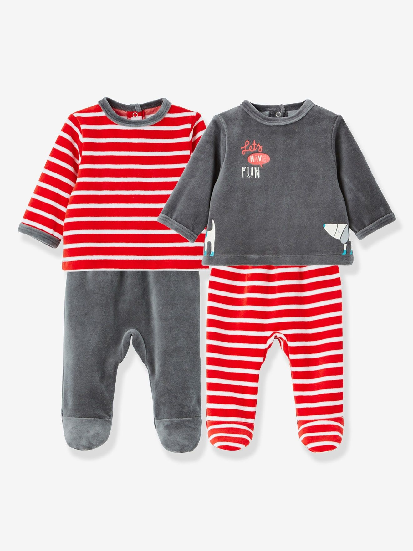 Pack of 2 Baby Two-Piece Pyjamas in Velour Fabric - red bright 2 color 853a577567996