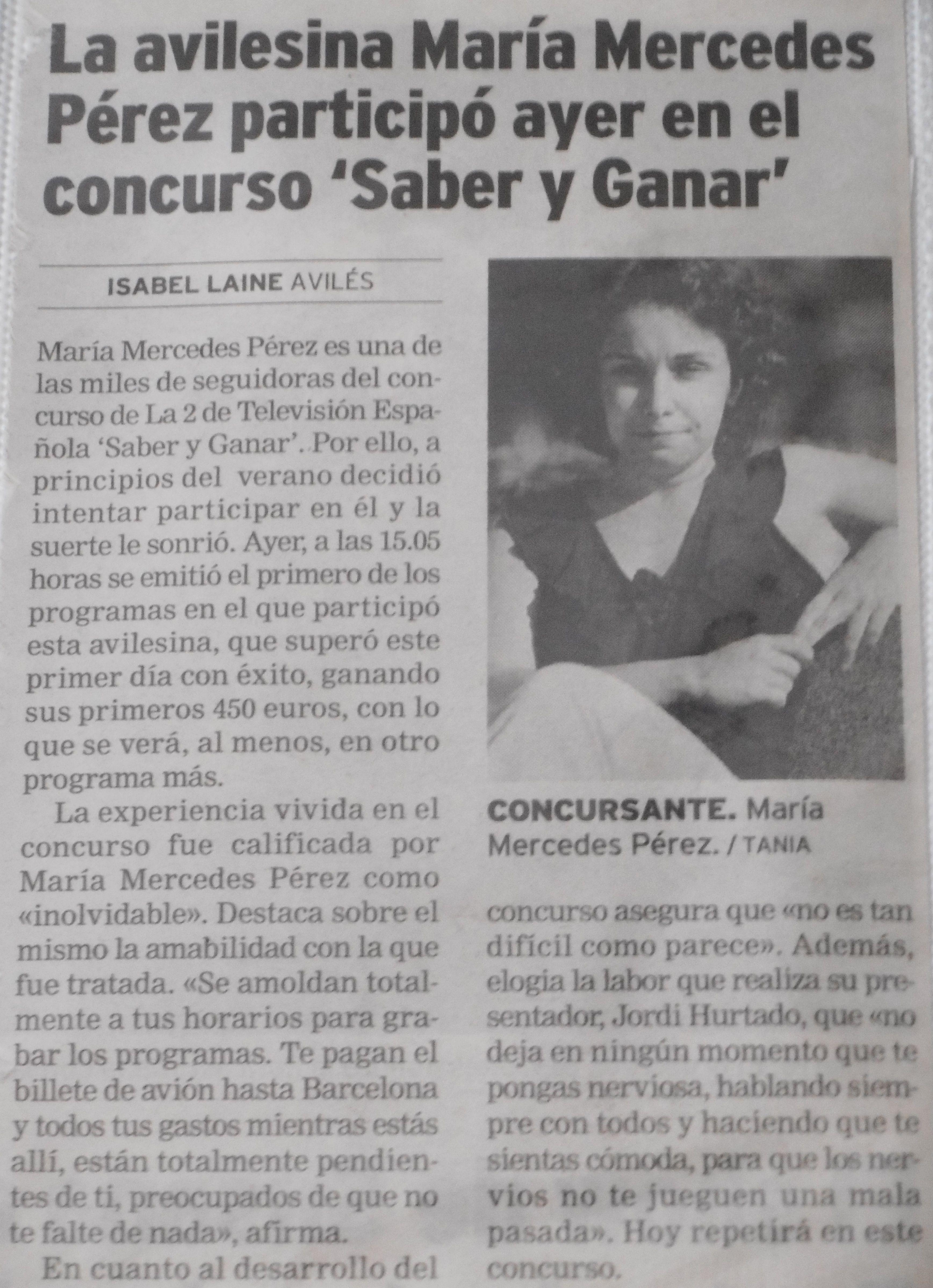 Maria Mercedes Perez Casado En La Voz De Aviles Jul 2005 La Voz Mercedes Fotos De Perfil