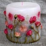 Kerze mit rosa Rosen, klein