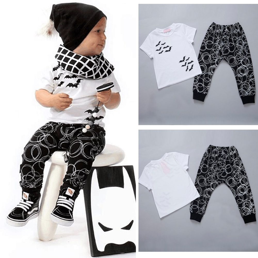 2pcs Newborn Toddler Infant Baby Boy Girl Outfits T Shirt Tops Pants