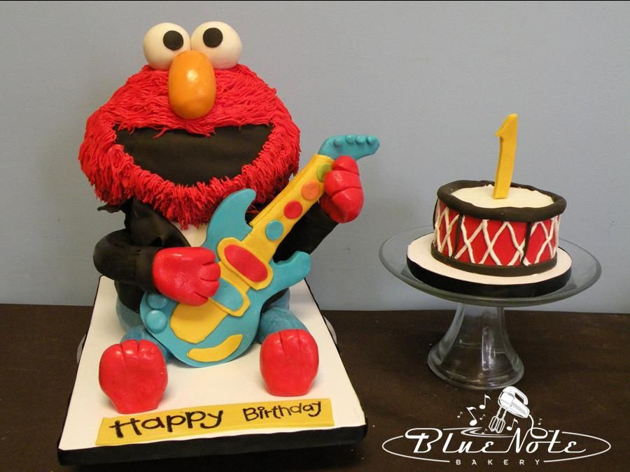 Elmo rockn roll cake 1st birthday smash cake Blue Note Bakery