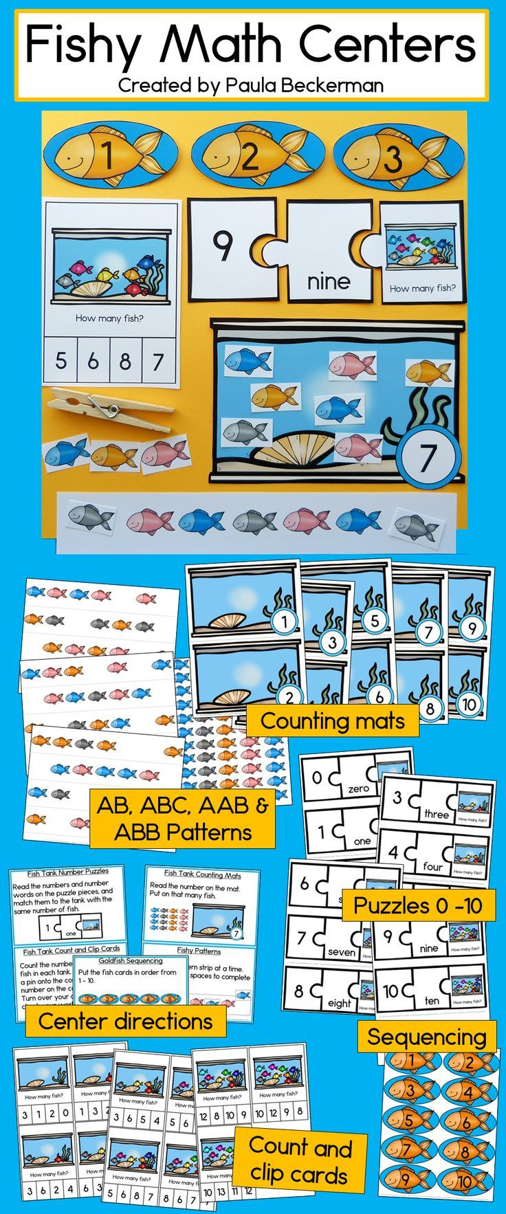 Math Centers Counting and Numbers to 10 - Fish Theme   Count, Math ...