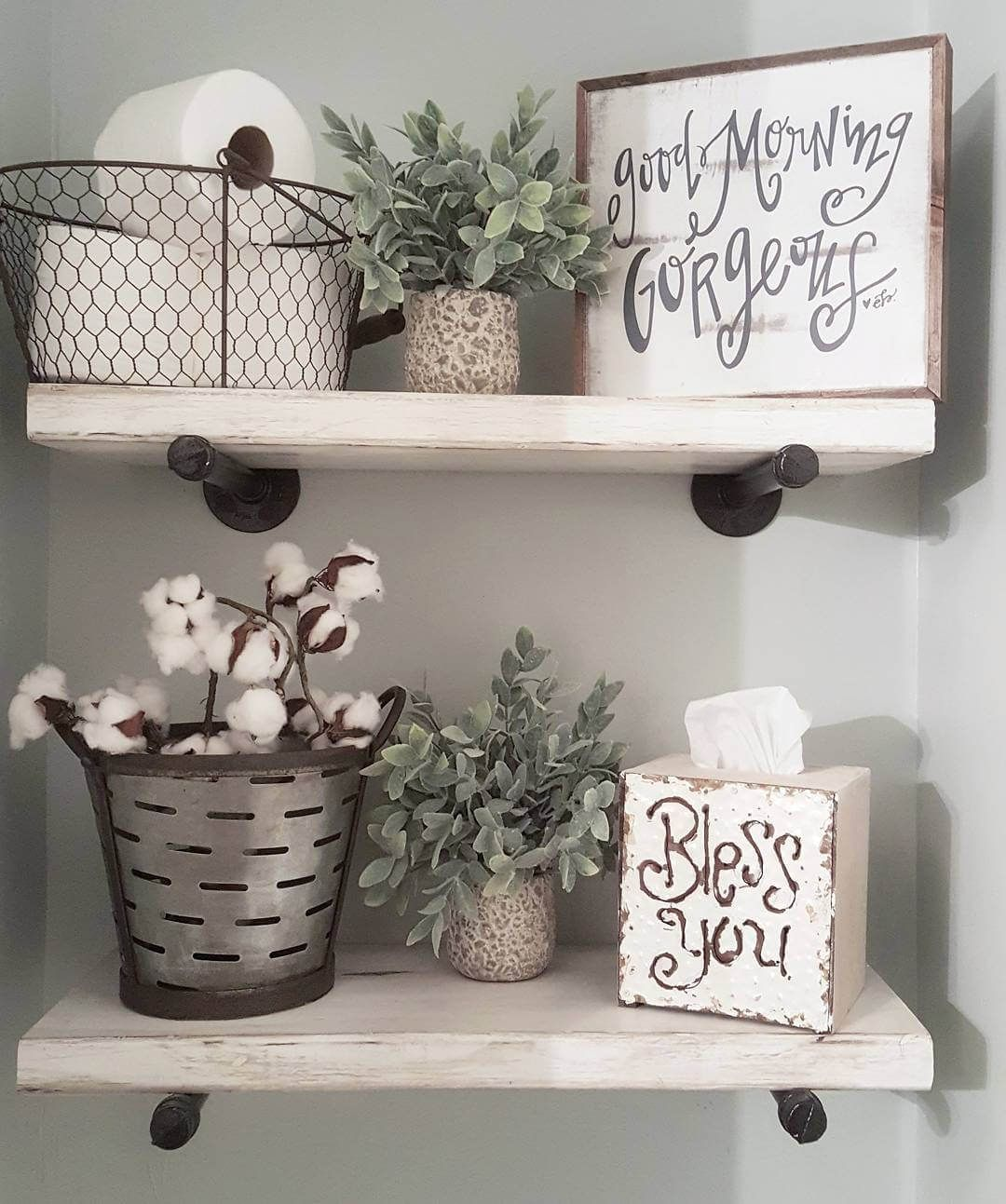 Photo of Country Chic Metal And Wood Bathroom Shelves