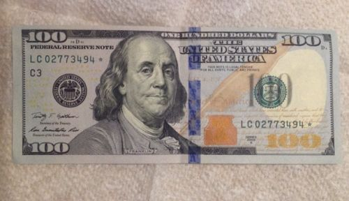 One Hundred Dollar Bill $100 Bill Blue Ribbon Circulated to Uncirculated