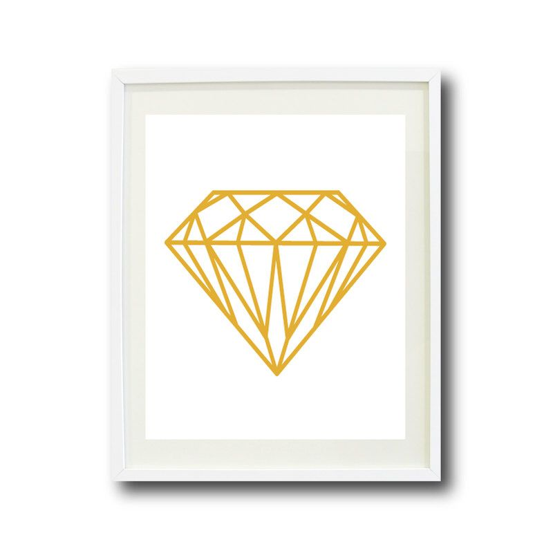 Diamond Art Print- 8x10 or 11x14 - Mustard Yellow and White OR ...