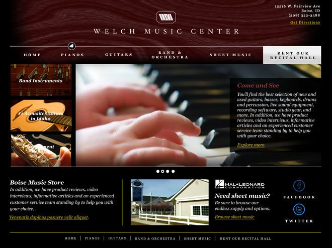 Welch Music Store In Boise Idaho By Adam And Matt Stevens Interactive Design Welch Music Store