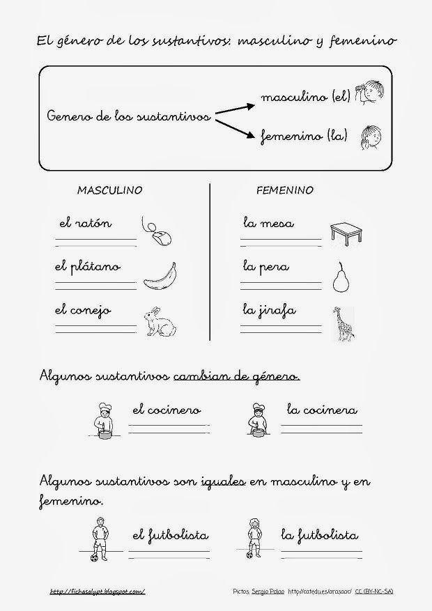 Cositas De Al Y Pt El Género De Los Sustantivos Lse Apuntes De Lengua Sustantivos Y Adjetivos Practicas Del Lenguaje