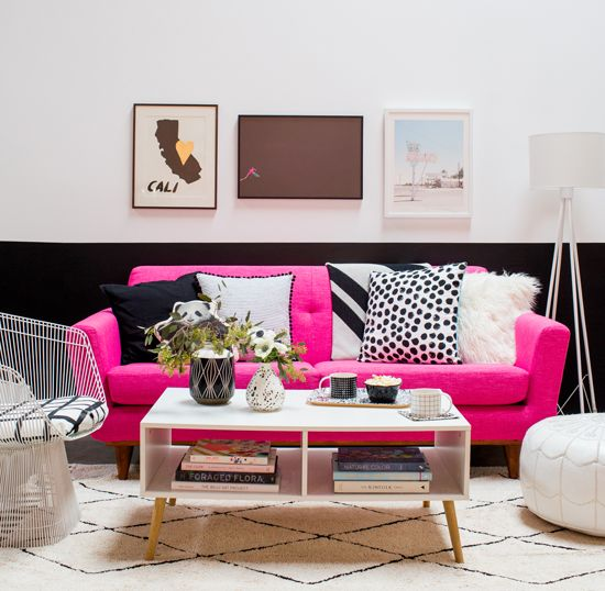 How To Style A Colorful Couch Colorful Couch Pink Living Room Decor