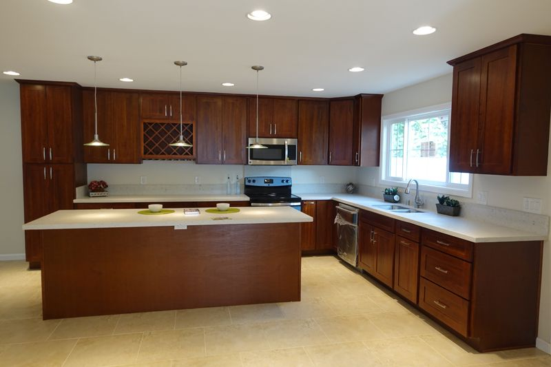 Medium Brown Cabinets With White Quartz Countertop Google Search Brown Cabinets White Countertops White Quartz Countertop